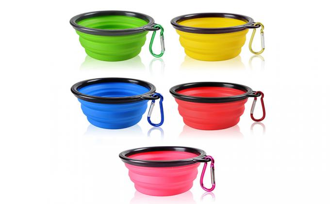 Collapsible Dog Bowls, 5 Pack Food Grade Silicone BPA Free Cat Pet Plate for Feeding Watering on Journeys Travel Hiking Camping