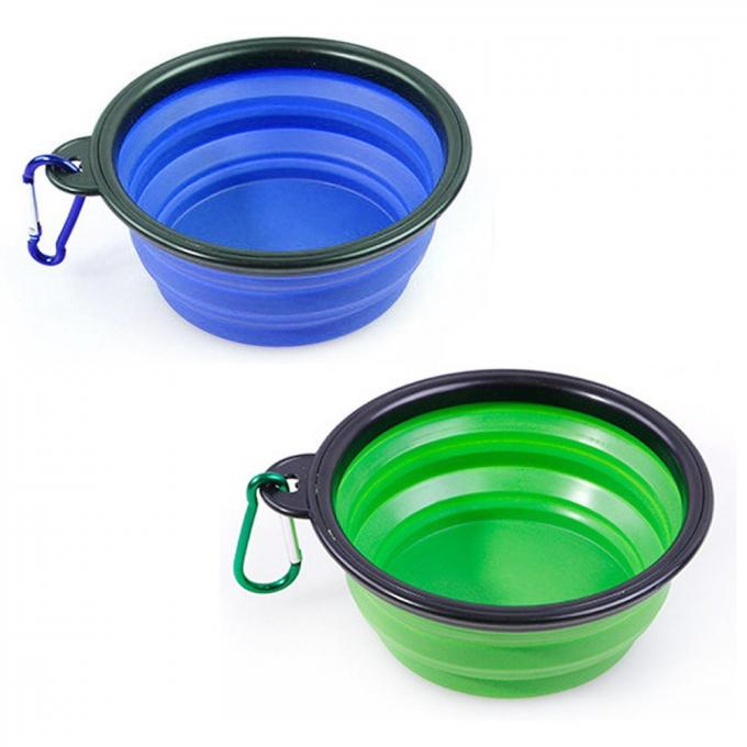 Collapsible Silicone Bowl with Color Matched Carabiner Clip - Dishwasher Safe BPA Free Food Grade Silicone Portable Pet Bowls - Foldable for Journeys, Hiking