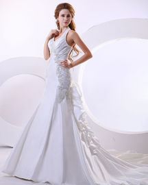 China Sexy Deep V Halter Neck Wedding Dresses ruffled long tail Wedding Gowns factory