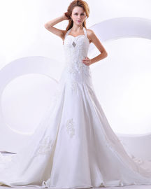 China Custom Made Around The Neck Strap Appliques wedding dress For birdal , girls , womens factory