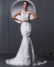 China Lace Deep V open back Halter Neck Wedding Dresses mermaid Slim Wedding Gowns factory