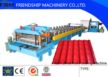 Aluminum Sheet / Steel / Color Alu Coil Glazed Tile Roll Forming Machinery Driven By Chain