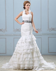 China Sexy Open back layered Wedding Dress with belt , drop waist womens wedding gowns distributor